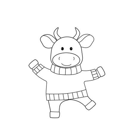Dancing bull in a sweater. Black outline, sketch, simple silhouette of a cute animal Illustration