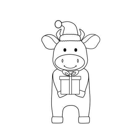 Cute bull in a new years cap and with a gift. Black outline, sketch, simple silhouette of a holiday animal. Symbol of the year, emblem, icon and childrens coloring book
