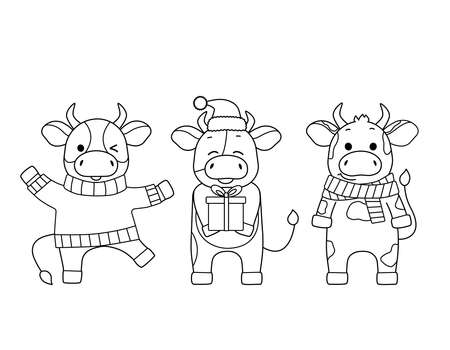 Three cute bulls on a new years theme. Black outline, sketch, simple silhouettes of festive animals.Calves in a sweater, scarf, Santa hat.Symbol of the year, emblem, icon and kids coloring book Illustration