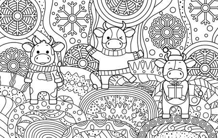 Funny coloring book with cows in winter clothes. Cute bulls and snowflakes. Black outline, sketch, Doodle. Symbol of the new year, vector illustration