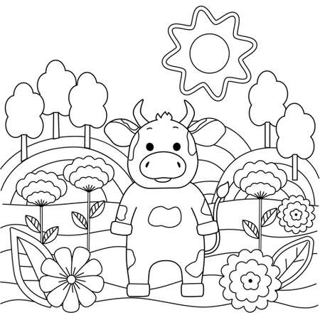 Cute simple kids coloring book with bull, nature and flowers. Outline on a white background, sketch, silhouette, Doodle, vector illustration