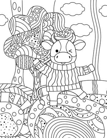 Cute simple childrens coloring book with bull, nature, tree and ornament. Outline on a white background, sketch, silhouette, Doodle, vector illustration.
