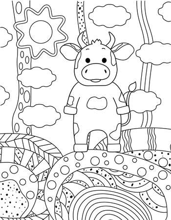 Cute simple childrens coloring book with bull, nature and ornament. Outline on a white background, sketch, silhouette, Doodle, vector illustration