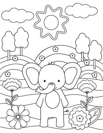 Kids coloring book with cute elephant, trees and flowers. Simple shapes, contour for small children. Cartoon vector illustration