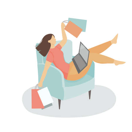 Concept of online shopping on the Internet. A young woman is sitting on an armchair in front of a laptop with bags in her hands. Flat cartoon vector illustration