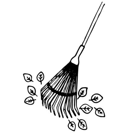 Rakes and leaves. Vector illustration on the theme of cleaning autumn leaves, black outline, Doodle, silhouette on a white background