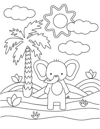 Kids coloring book with cute elephant, palm tree and sun. Simple shapes, contour for small children. Cartoon vector illustration.