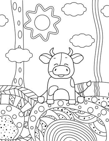 Simple kids coloring book with cute bull. Abstract hills with ornaments, clouds, sun. Black outline on a white background, vector illustration.