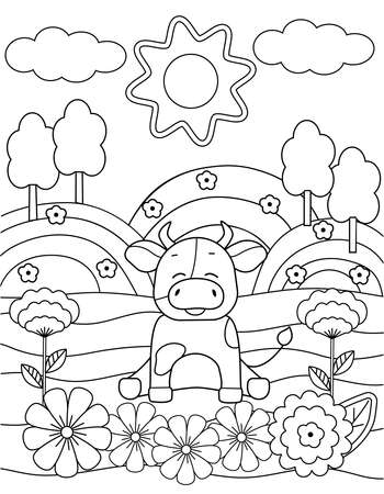 Cute coloring book with a funny bull, sun, flowers and trees. Black sketch, simple shapes, silhouettes, contours and lines. Childrens fairy tale vector illustration. Illustration