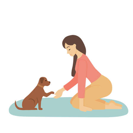 A young woman plays with a pet. The dog gives a paw to the girl. Cute illustration of the relationship and friendship between person and animal. Vector in flat, cartoon style. Illustration