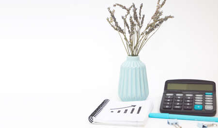 Calculator, Notepad, pen, and a vase of simple flowers on the table. White background. Space for text, banner Banque d'images