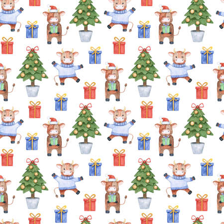 Bright new years watercolor seamless pattern with funny bulls, gifts and a Christmas tree. Illustration for decor, textiles, packaging paper.
