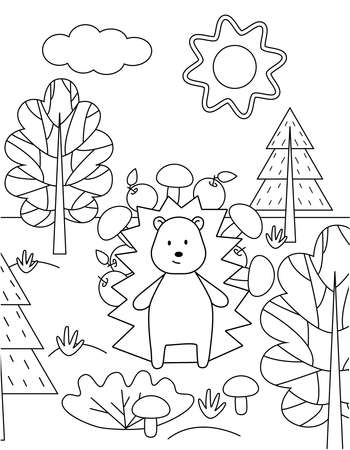 Hedgehog with mushrooms and apples in the forest. Simple childrens coloring book, outline, silhouette of a wild animal. Cute vector illustration.