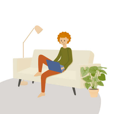 A boy with red hair is working with a laptop. A young man is sitting on the sofa, doing homework at home. Home learning illustration, flat cartoon vector.