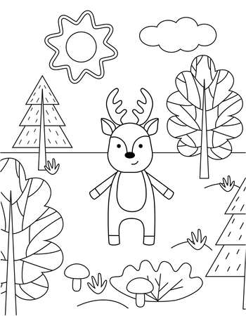 Cute kids coloring book with a deer in the forest. Simple black outline of a wild animal, vector illustration. Illustration