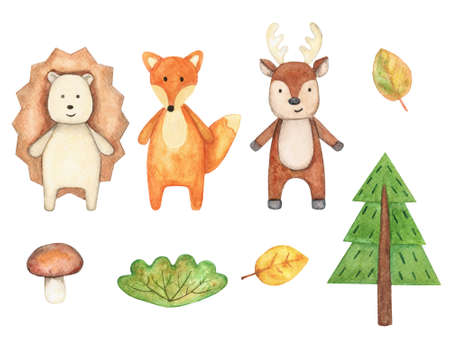 Watercolor set with cute wild animals. The collection includes a Fox, a deer, a hedgehog, a Christmas tree, a Bush, a mushroom and autumn leaves. For child decor and textiles. Banque d'images