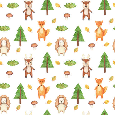 Watercolor drawing with cute wild animals. Seamless pattern with Fox, deer, hedgehog, fir tree, Bush, mushroom and autumn leaves. For baby decor and textiles. Banque d'images