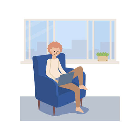 A boy with a laptop in his hands is sitting in a chair near the window. A young man with red hair is studying at home. Cartoon flat vector illustration. Illustration