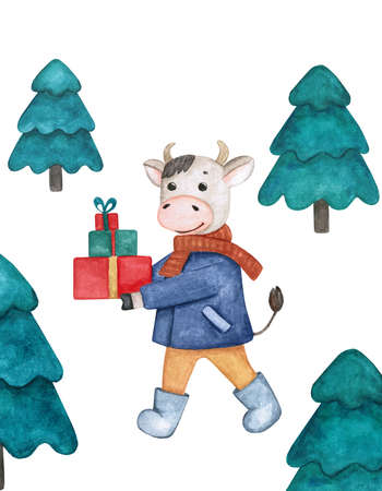 Template for a new year greeting card with a bull, gifts and fir trees. Watercolor illustration on a Christmas theme