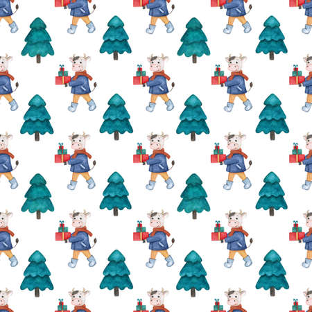 Seamless watercolor pattern with a new years bull with gifts and fir trees. Christmas illustration for holiday decor, textiles and wrapping paper.
