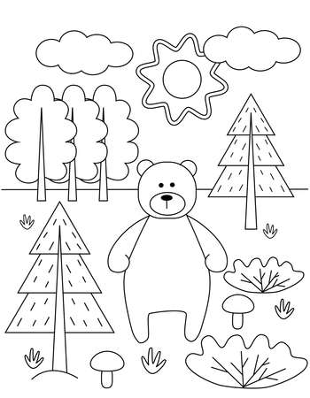 Kids coloring book with cute bear and fir trees. Simple shapes, contour for small children. Cartoon vector illustration.