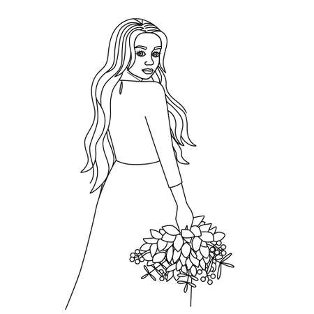 The girl turned around, holding a bouquet in her hand. Silhouette of a young beautiful woman with long hair. Black outline, line art on a white background. Cute coloring book, vector.