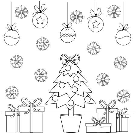 Christmas tree, gifts and snowflakes. Cute simple childrens coloring book with elementary shapes. Holiday decor.