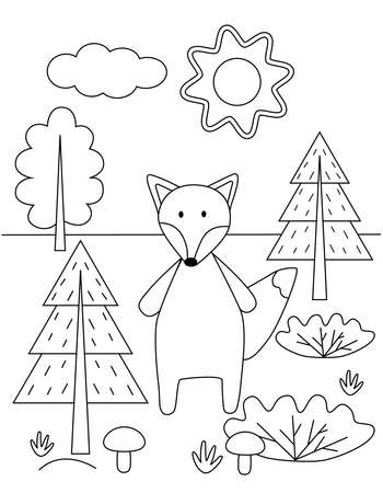 Cute kids coloring book with a fox in the forest. Simple black outline of a wild animal, vector illustration. Illustration