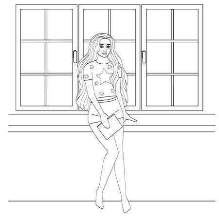 Beautiful girl with long hair near the window. Simple silhouette of a young woman in shorts. Cute coloring book, vector illustration. Illustration