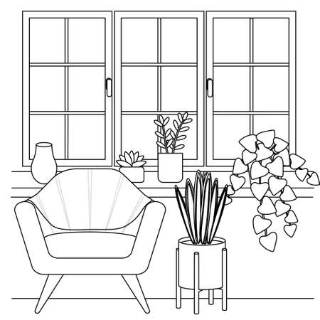 Contour, silhouette of furniture near the window, sofa and flowers. Cute simple coloring book, poster and print design, vector illustration.