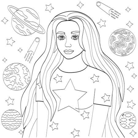 Girl with long hair, black outline on white. Cute coloring book with a young woman, stars and planets, vector illustration