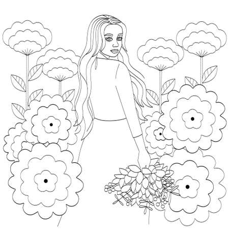 A girl with long hair, in a long dress and with a bouquet in her hands. Outline of a young woman and large flowers, cute coloring book, vector illustration