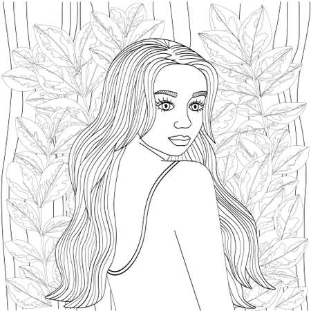 Beautiful girl with long hair surrounded by unusual twigs. Cute vector illustration for coloring pages. Black outline on a white background, sketch, line art.