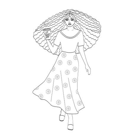 Silhouette of a tall girl with curly hair and a long skirt with a Cup of coffee in her hands. Outline of a woman, sketch for a coloring page , avatars