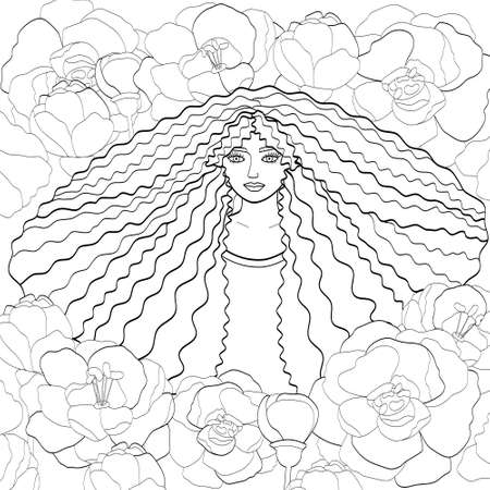 Portrait of a girl with long curly hair and flowers. Black outline on white, sketch, silhouette for coloring books. Square page, vector illustration. Illustration
