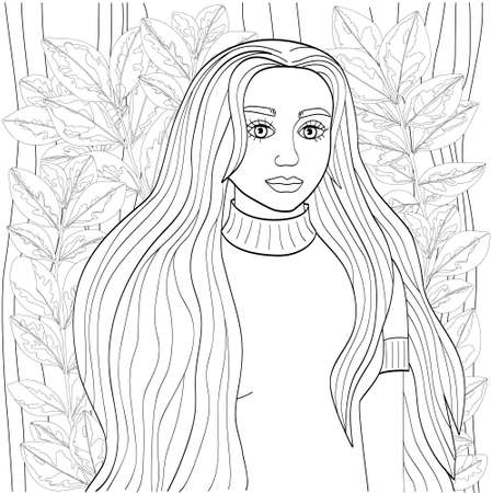 Beautiful girl with long hair surrounded by unusual foliage. Cute vector illustration for coloring pages. Black outline on a white background, sketch, line art.