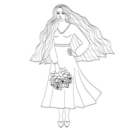 A beautiful girl with long hair is holding a bouquet of flowers. Silhouette of a young woman, black outline on white. Vector illustration for coloring pages,  avatars. Illustration
