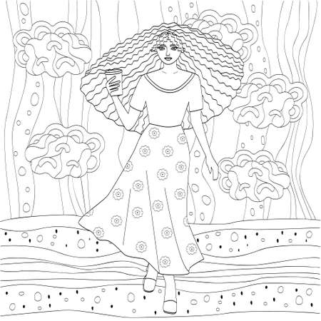An unusual coloring book with a long-haired girl and abstract lines. Silhouette of a young woman holding coffee. Black outline on white, vector.