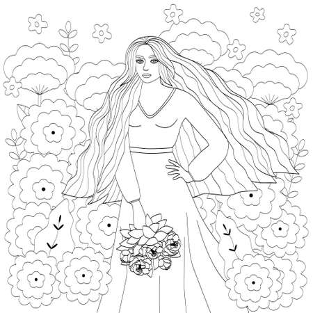 A girl with long hair, in a long dress and with a bouquet in her hands. The outline of a young woman and large flowers. Black outline, cute coloring book, vector illustration. Illustration