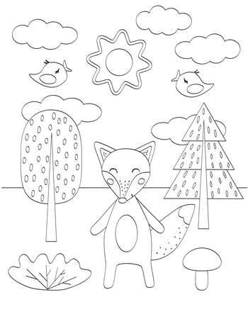 Cute kids coloring book with funny Fox, trees and birds Simple shape, black outline on white. Vector illustration for small children.