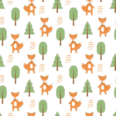 Kids seamless pattern with a Fox in the forest. Cute childish vector illustration for textiles, childrens decor.