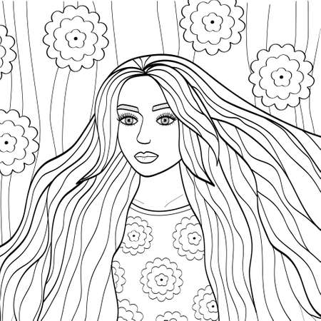 Portrait of a beautiful girl with long hair. Outline of a young woman. Vector illustration for coloring pages, avatars