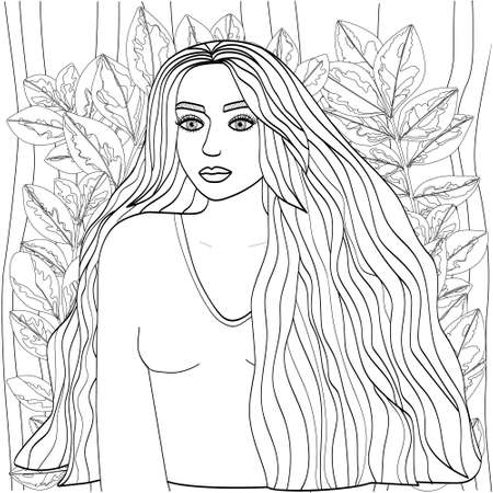 Beautiful girl with long hair surrounded by unusual foliage. Cute vector illustration for coloring pages. Black outline on a white background, sketch, line art