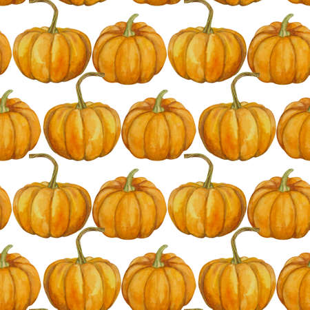 Bright seamless pattern with pumpkins. Autumn watercolor illustration for decor and textiles