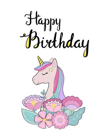 Cute greeting card with unicorn and Happy Birthday text.