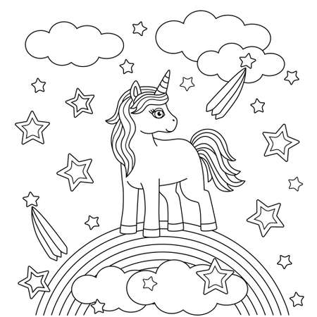 Coloring book for kids with a cute unicorn on a Rainbow. Ponies, stars and clouds. Childrens drawing, simple shapes and contours. Cartoon vector illustration.