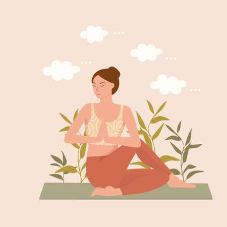 A young woman practices yoga with her eyes closed. A girl meditates among the clouds of thoughts, the concept of mental health, vector illustration. Illusztráció
