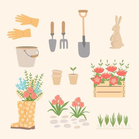 A set of garden tools and equipment. Garden supplies, shovel, bucket, flower bed, boots, gloves, flowers, hare figure.