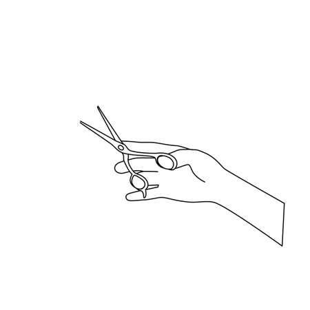 The outline of the scissors in your hand. The barber holds the tool. Sketch, doodle, black line on a white background. Hairdressers sign, vector with editable stroke.