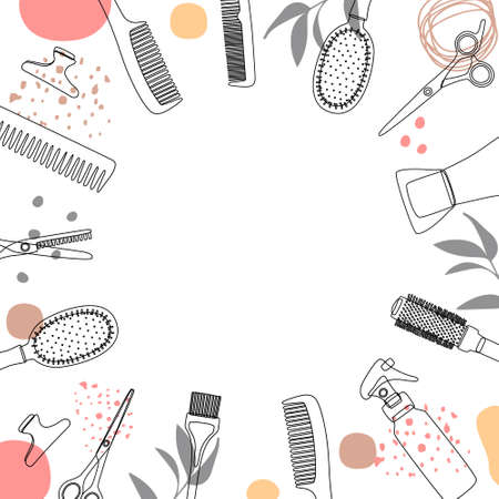 Frame, border of hairdressing tools. Hair salon accessories outline, hair dryer, comb, scissors and abstraction. Vector illustration, template for design and information. Vetores